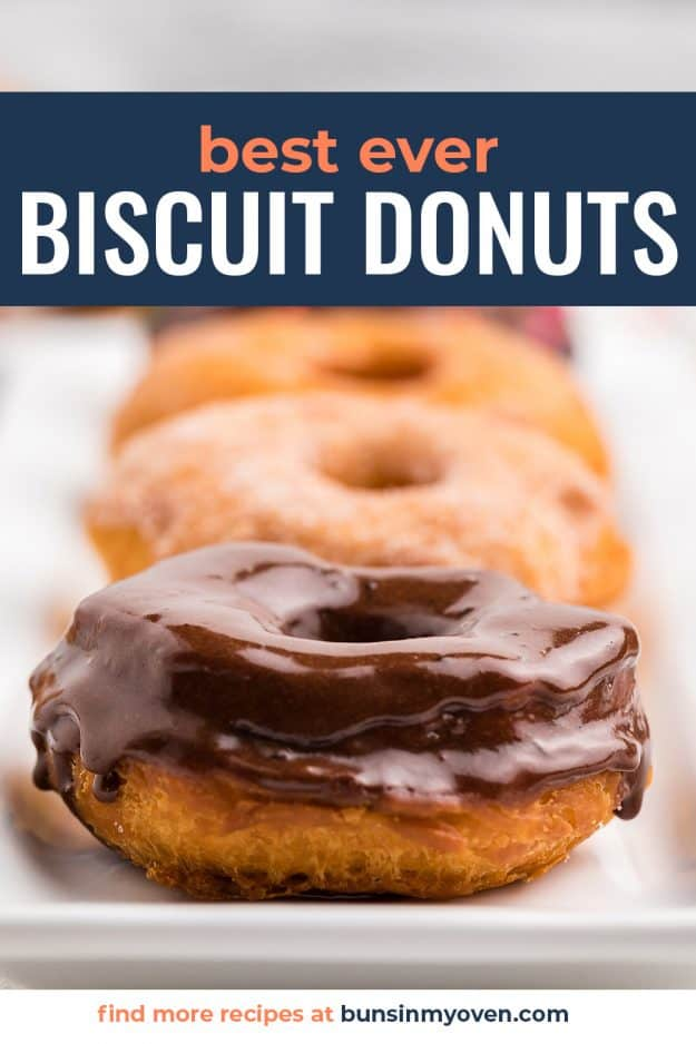 donuts made of canned biscuits on white plate