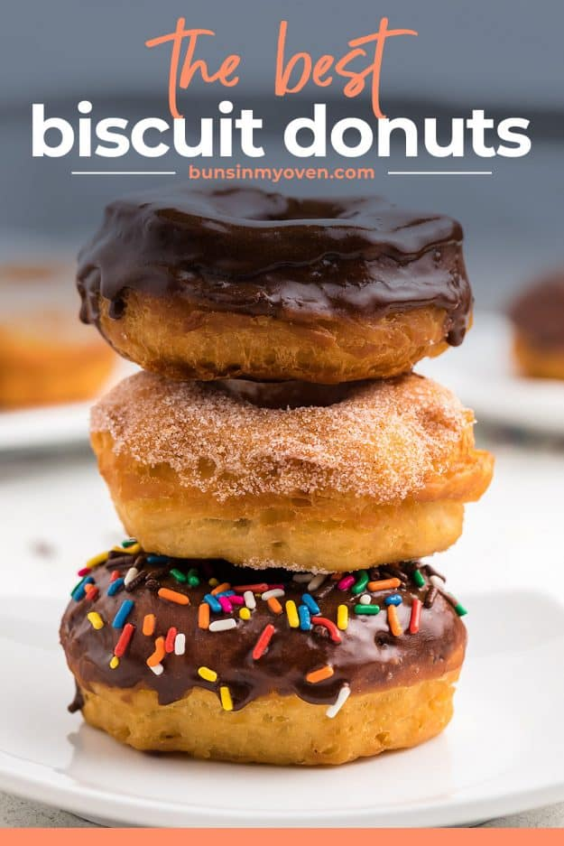 stack of canned biscuit donuts on white plate
