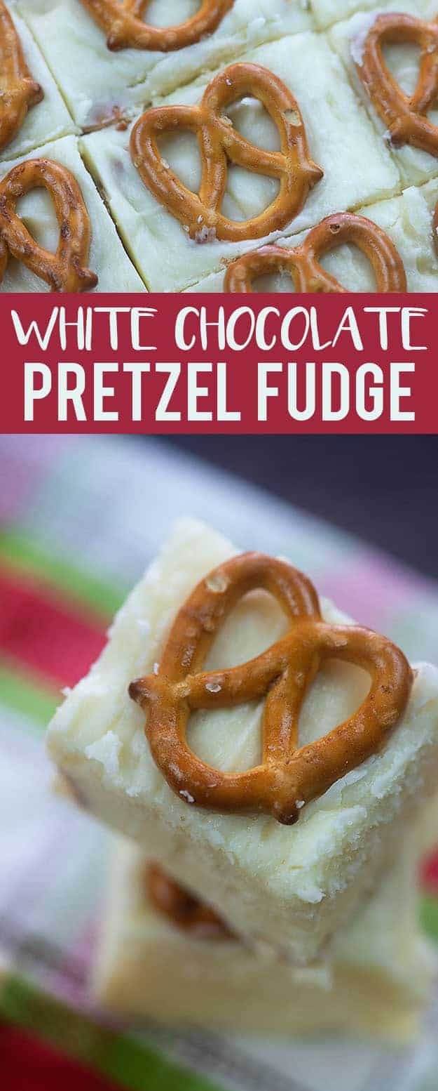Close up of a pretzel on top of a piece of fudge.
