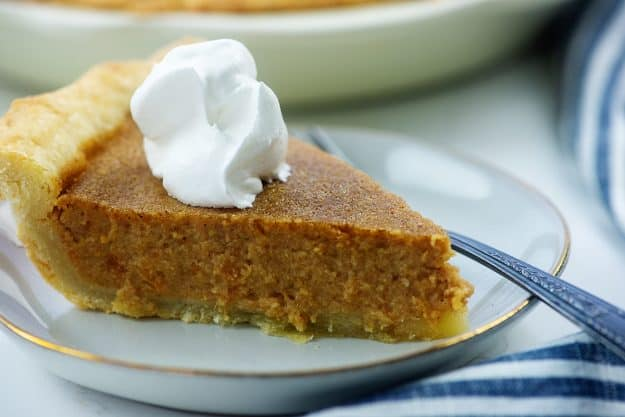 creamy sweet potato pie recipe on plate.