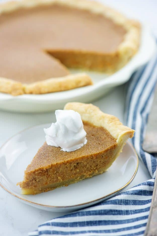 easy sweet potato pie recipe on white plate.
