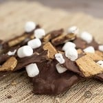 A close up of smores bark pieces on a woven placemat.