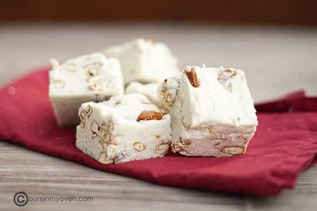 white chocolate fudge with pretzels