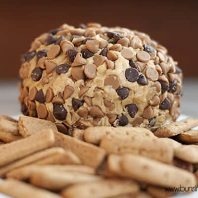 A peanut butter ball with chocolate chips on it in front of a pile of cookies.