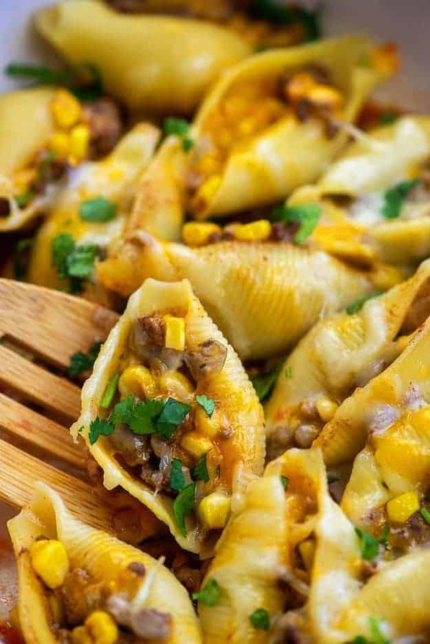 recipe for taco stuffed shells in baking dish