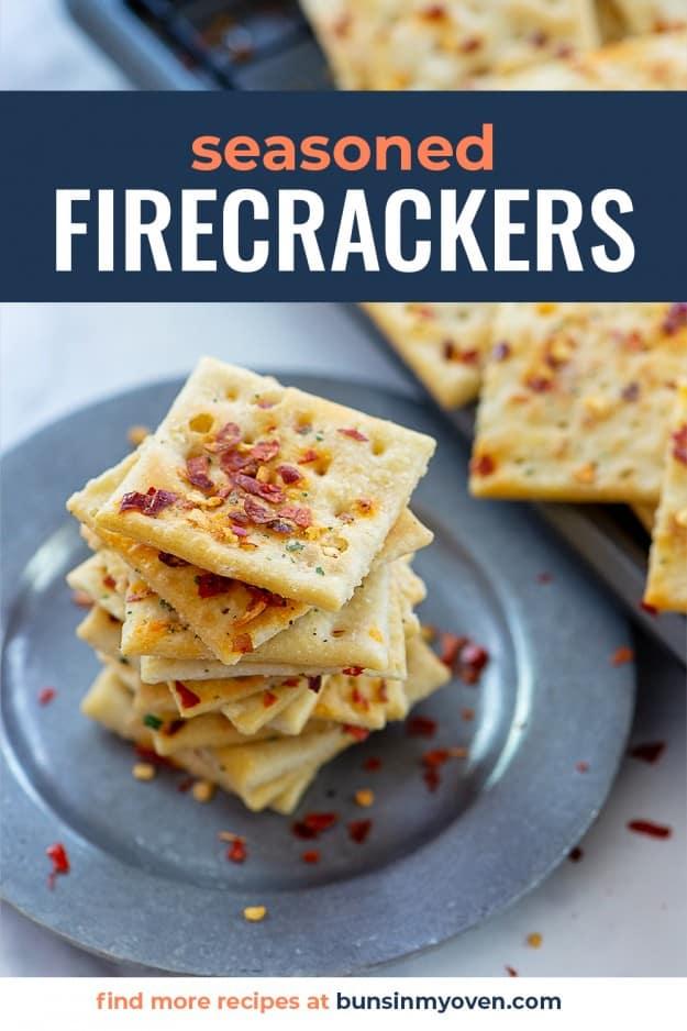stack of seasoned crackers on metal plate.