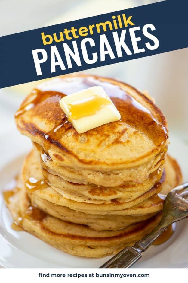 buttermilk pancake recipe with butter and syrup.