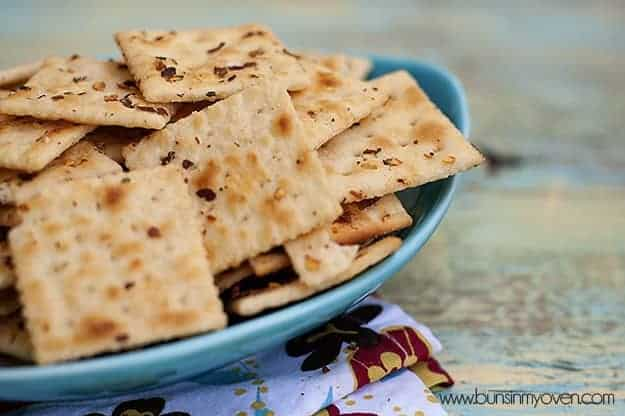 A close up of crackers in an appetizer serving tray