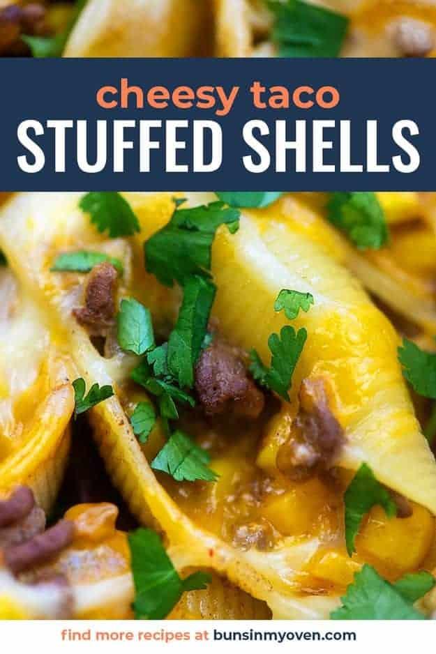 cheesy taco stuffed shells in baking dish