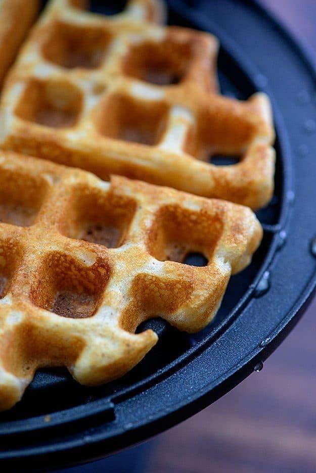 crispy waffles in waffle iron