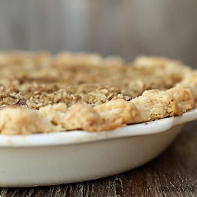 A closeup of the crust on a rhubarb pie