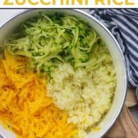 easy rice recipe with cheese and zucchini in white pan