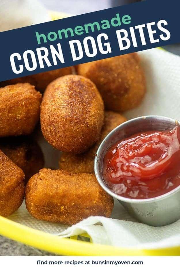 corn dog bites in yellow basket