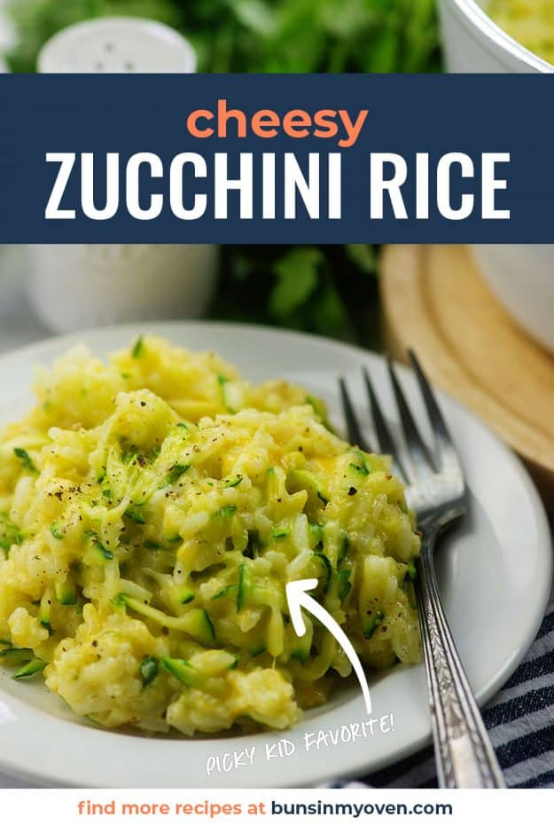 zucchini rice on white plate
