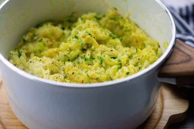 zucchini rice in white dish