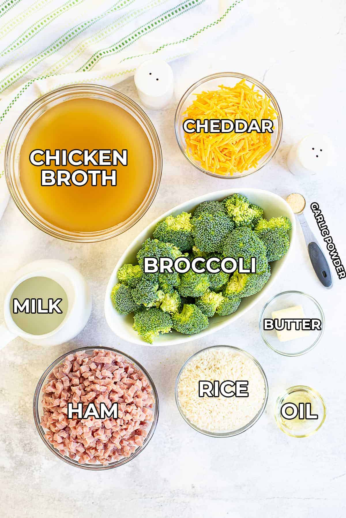 ingredients for cheesy broccoli rice with labels.