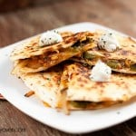 onion and poblano quesadilla