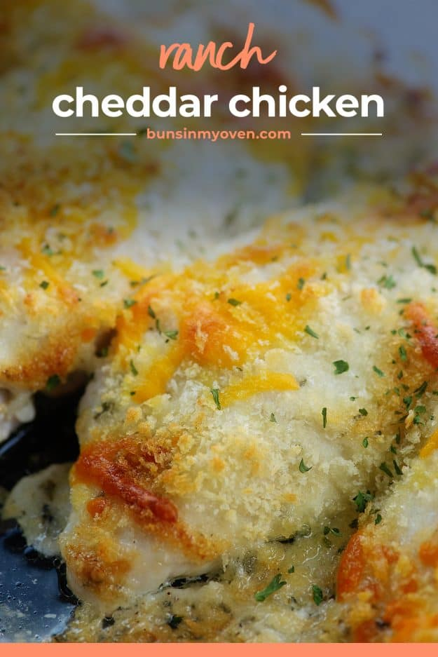 baked chicken breasts in baking dish.