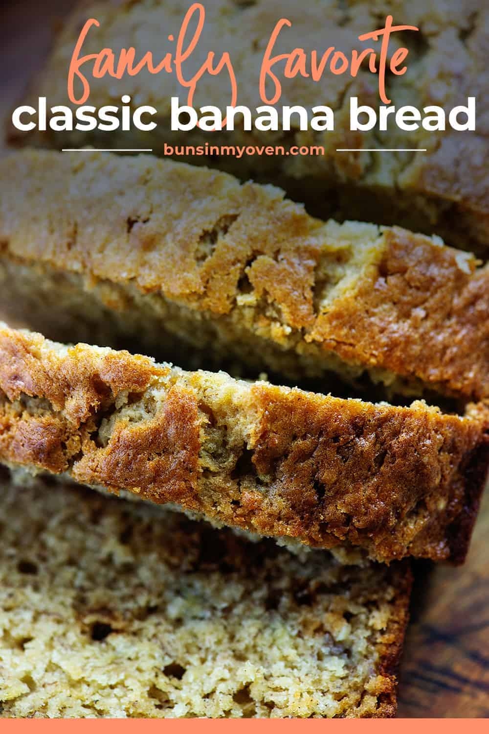 loaf of banana bread sliced thick