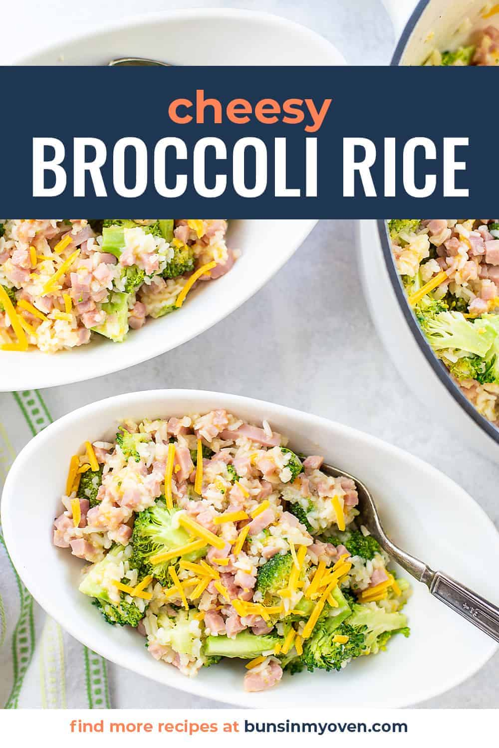cheesy broccoli rice with text for pinterest.