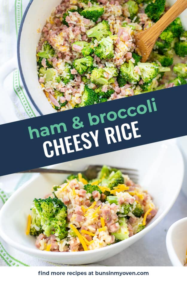 collage of cheesy rice images with text for Pinterest.