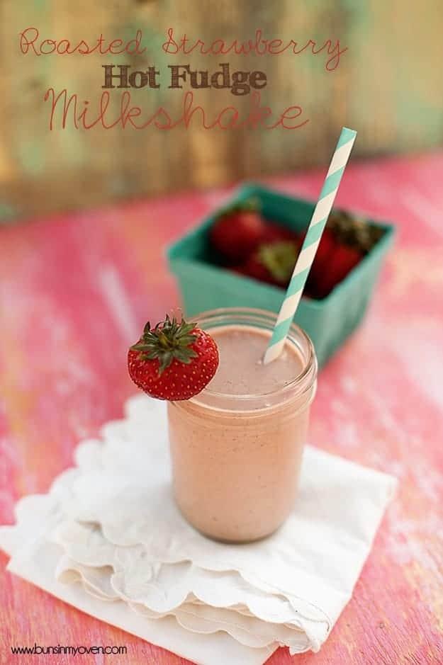 Roasted Strawberry Hot Fudge Milkshake recipe
