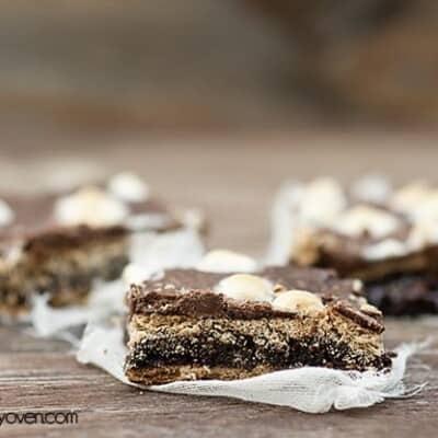 A closeup of a smores brownie