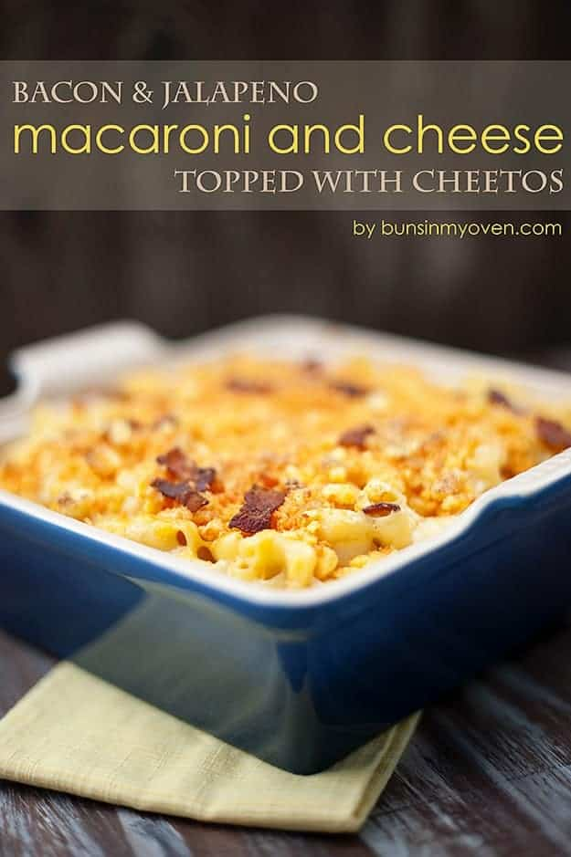 Jalapeno Bacon Macaroni and Cheese topped with Cheetos recipe