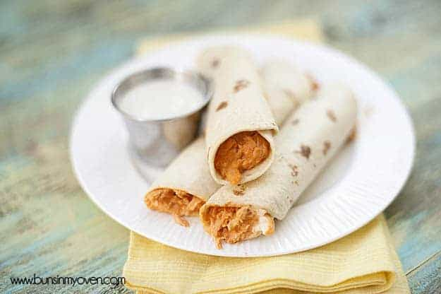 Buffalo Chicken Taquitos #recipe by bunsinmyoven.com
