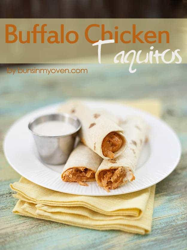 Buffalo Chicken Taquitos - Football food by bunsinmyoven.com