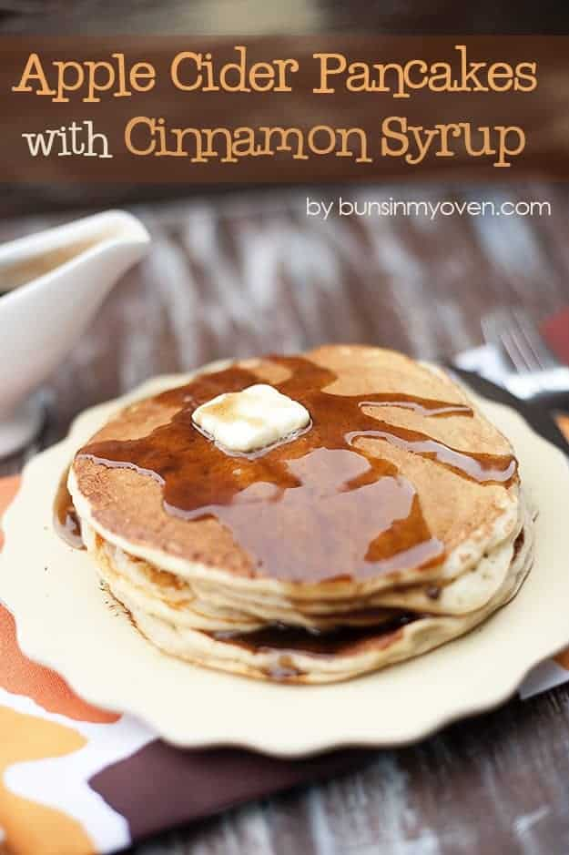 Apple Cider Pancakes with Cinnamon Syrup #recipe by bunsinmyoven.com