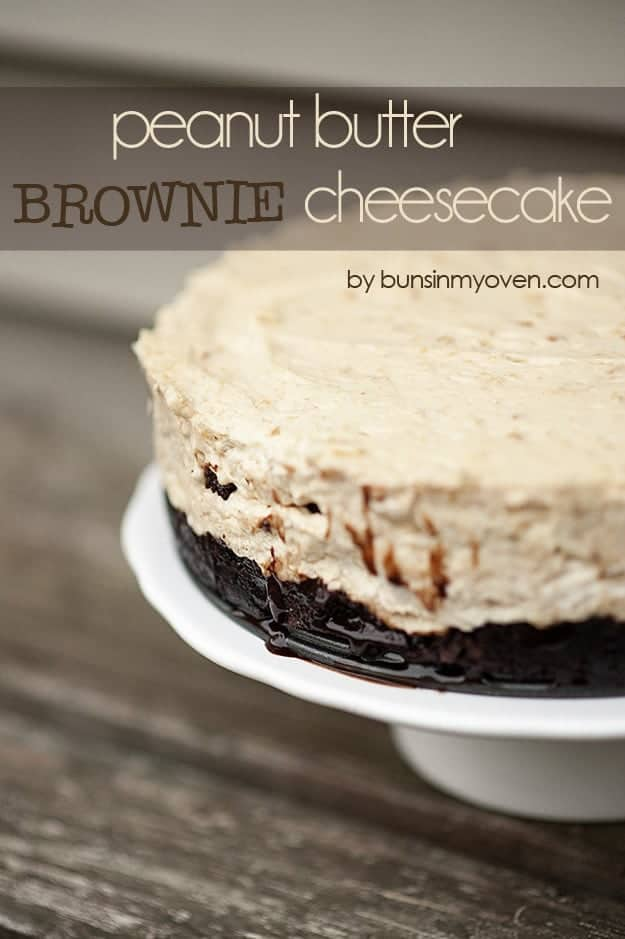 peanut butter brownie cheesecake recipe by bunsinmyoven.com