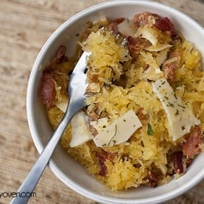 roasted spaghetti squash with bacon and cheese recipe by bunsinmyoven.com