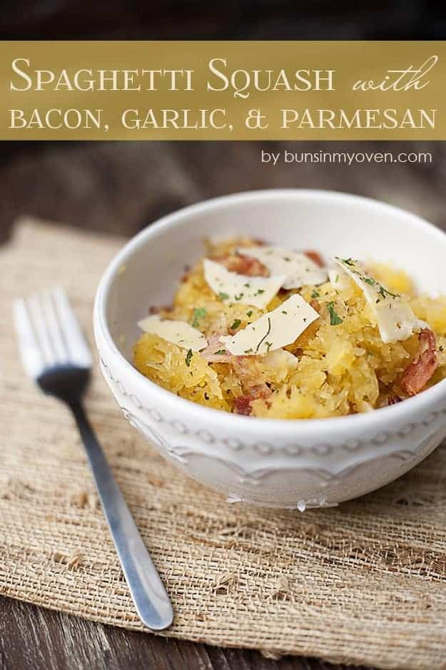 This roasted spaghetti squash recipe is made with bacon, parmesan cheese, and garlic. This is such a great Fall dinner or lunch recipe!