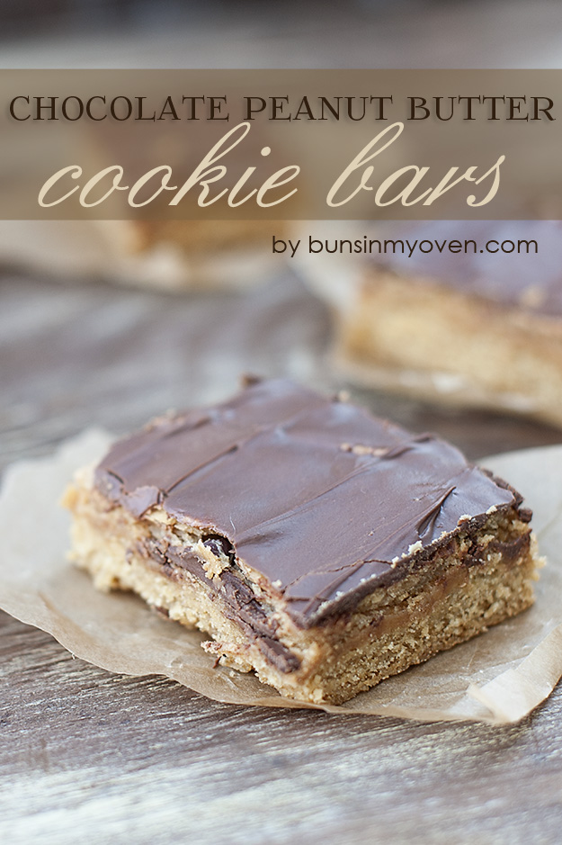 Chocolate Peanut Butter Cookie Bars #recipe by bunsinmyoven.com