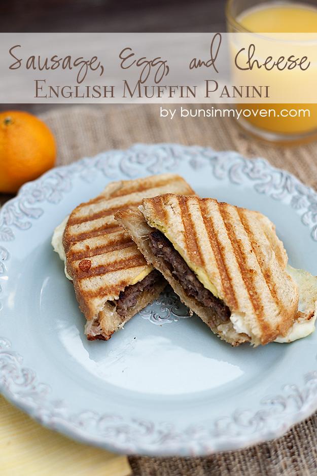 Sausage, Egg, and Cheese English Muffin Panini recipe