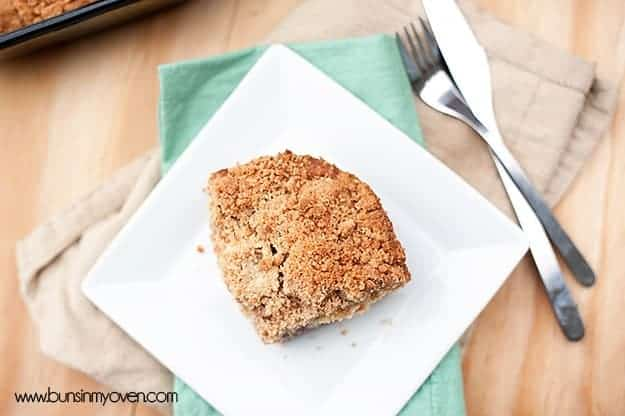 An overhead view of piece of a coffee cake.