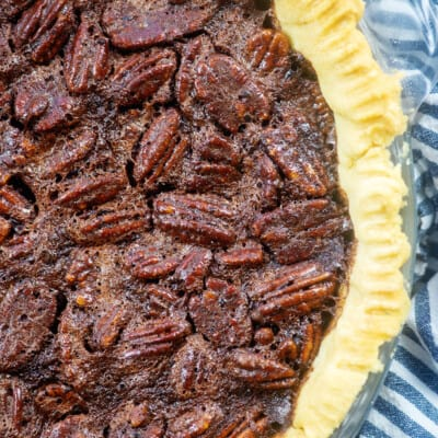 chocolate pecan pie in homemade pie crust.