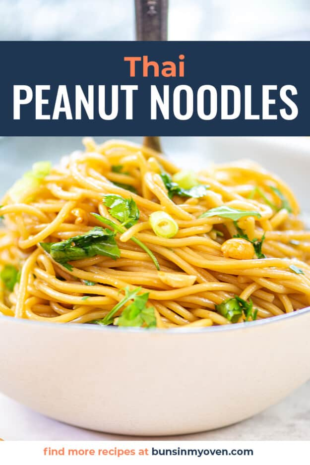 noodles in white bowl with text for Pinterest.