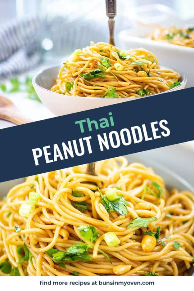collage of peanut noodle images.