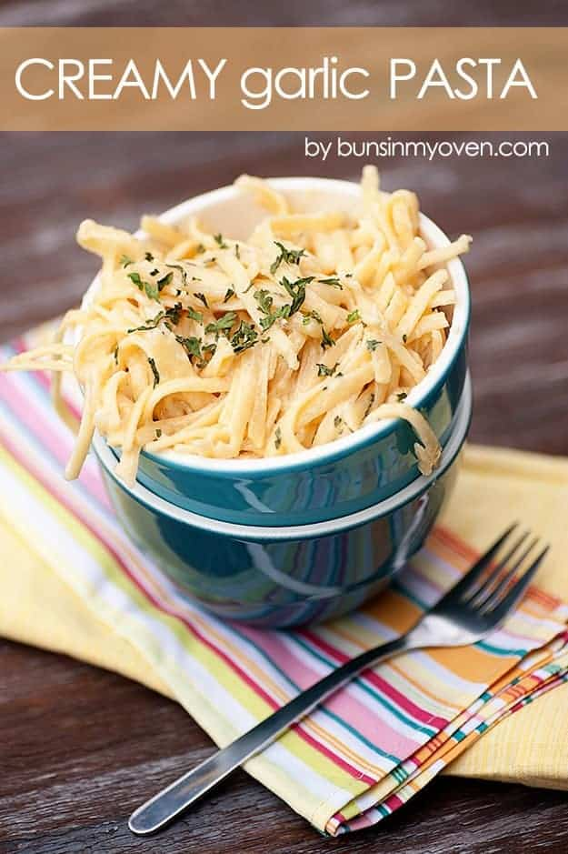 Creamy Garlic Pasta #recipe by bunsinmyoven.com