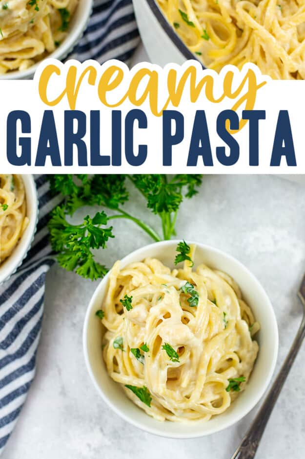 overhead view of pasta in white dish with text for Pinterest.