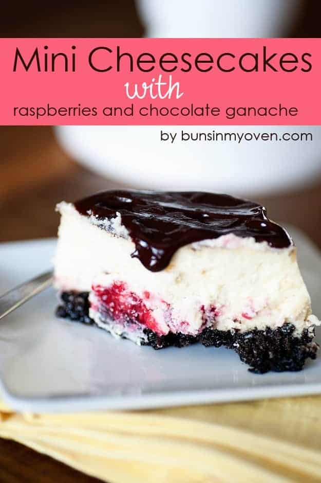 Mini Cheesecakes with Raspberries and Chocolate Ganache recipe