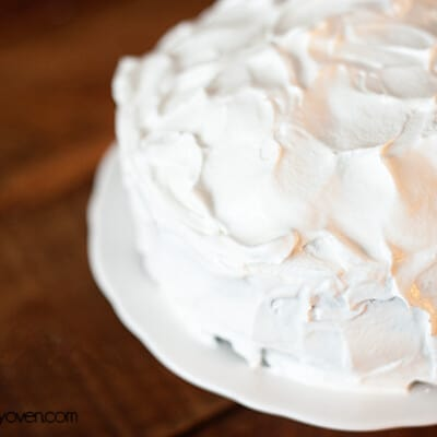 AA close up of meringue topped pie plate.