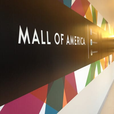 A close up of a mall of America sign.
