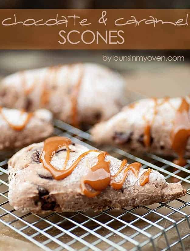 Skinny Chocolate Caramel Scones #recipe by bunsinmyoven.com