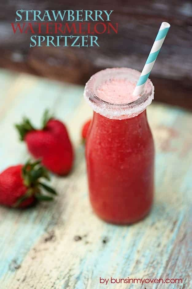 Strawberry Watermelon Spritzer #recipe by bunsinmyoven.com | Perfect for a hot summer day!