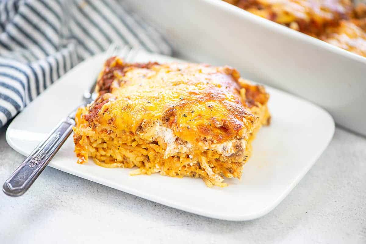 baked pasta on white plate.