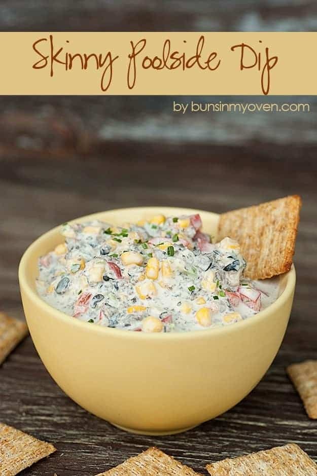 Skinny Poolside Dip #recipe by bunsinmyoven.com | This dip is perfect for a hot summer day! The crunchy veggies and creamy cheese are cool and refreshing!