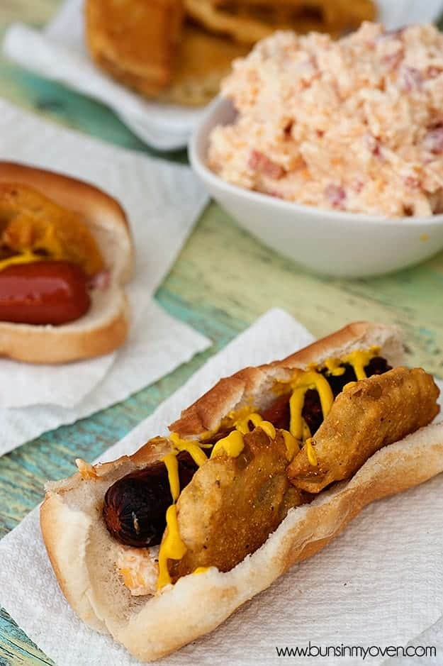 Two hot dogs on paper napkins